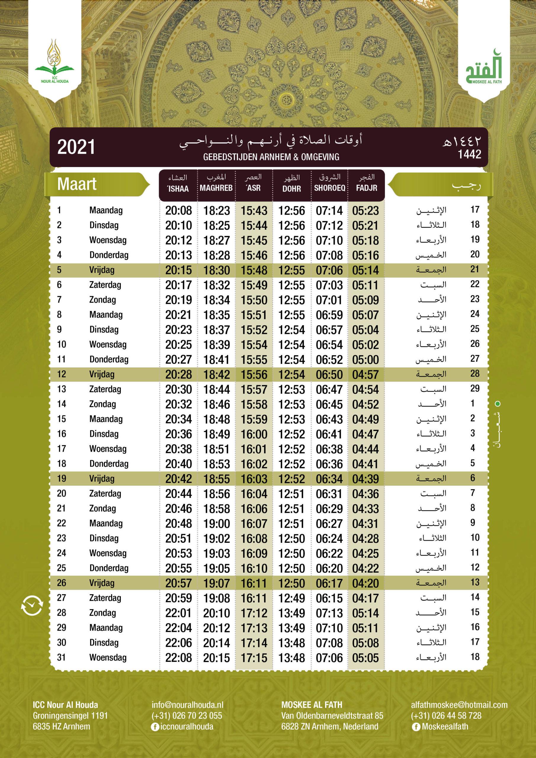 Gebedstijden Maart 2021 Arnhem Moskee Al Fath