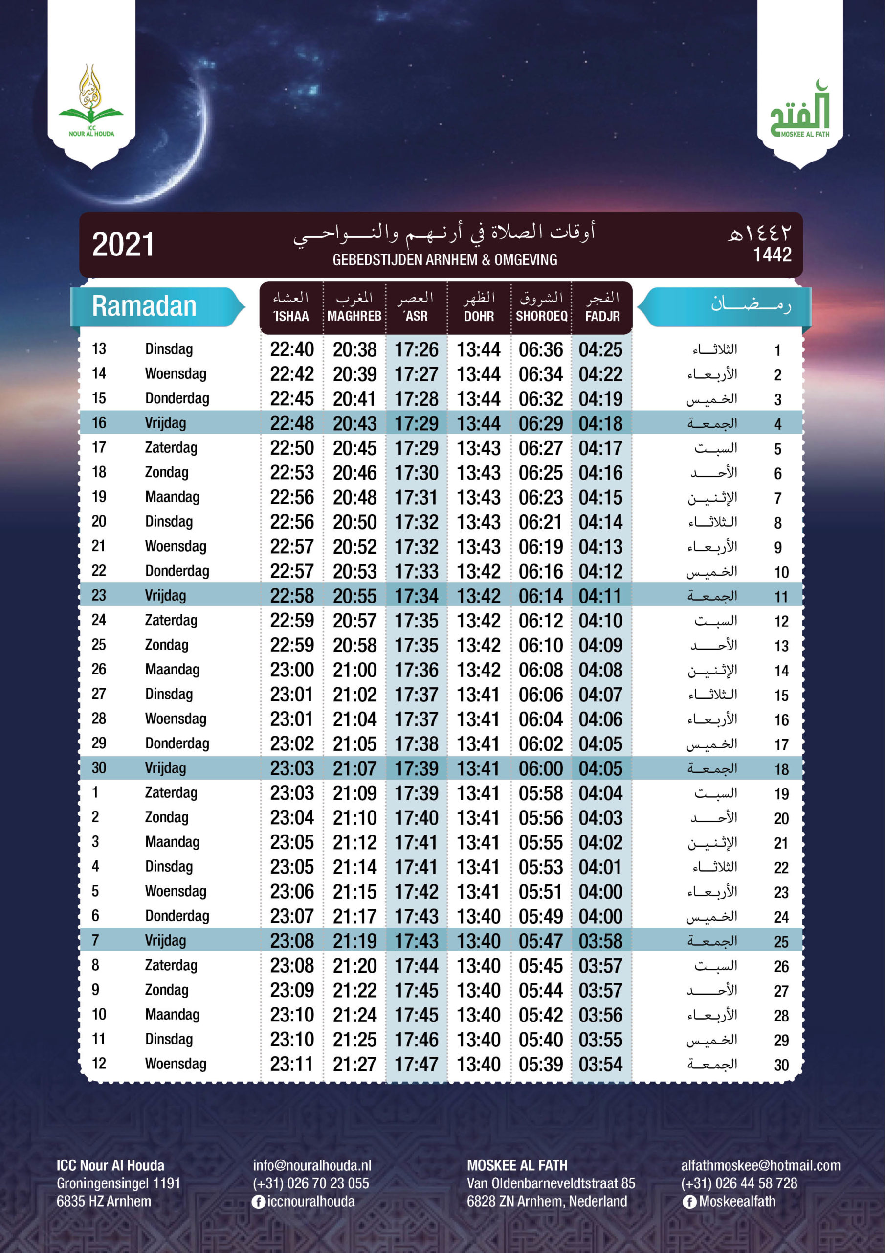 Gebedstijden Ramadan 2021 Arnhem Moskee Al Fath